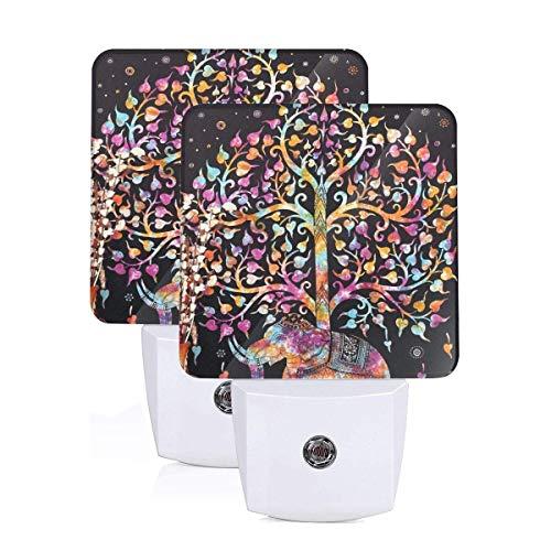GHWEAQu Elephant Tree Tapestry Good Luck White Elephant Tapestry Hippie Fashion Plug-in Night Light, Warm White LED Nightlight, Dusk-to-Dawn Sensor Energy Efficient
