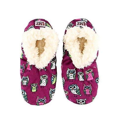 LazyOne Unisexo Night Owl Niños Fuzzy Feet Zapatillas 12-1
