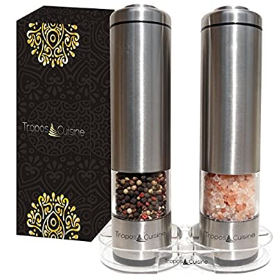 TroposCuisine Electric Salt and Pepper Grinder Set with Stand - Battery Operated Stainless Steel and Ceramic Adjustable Mill - For Pepper and Sea or Pink Himalayan Salt plus other Spices - Gift Boxed