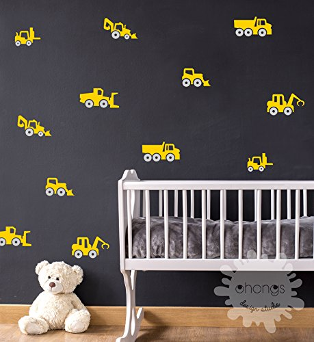 Construction Vehicles Wall Decal / Cars Wall Decal / 2 Color Cars Wall Sticker / Construction Truck Stickers / Kids wall decor / Kids Room
