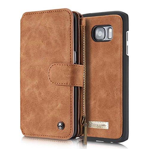 Genuine Cowhide Leather Case (AIREBO 5161757 Dermis Handmade Genuine Cowhide Wallet Type Leather Case with Zipper for Samsung Galaxy S7 Edge, Coffee Brown)