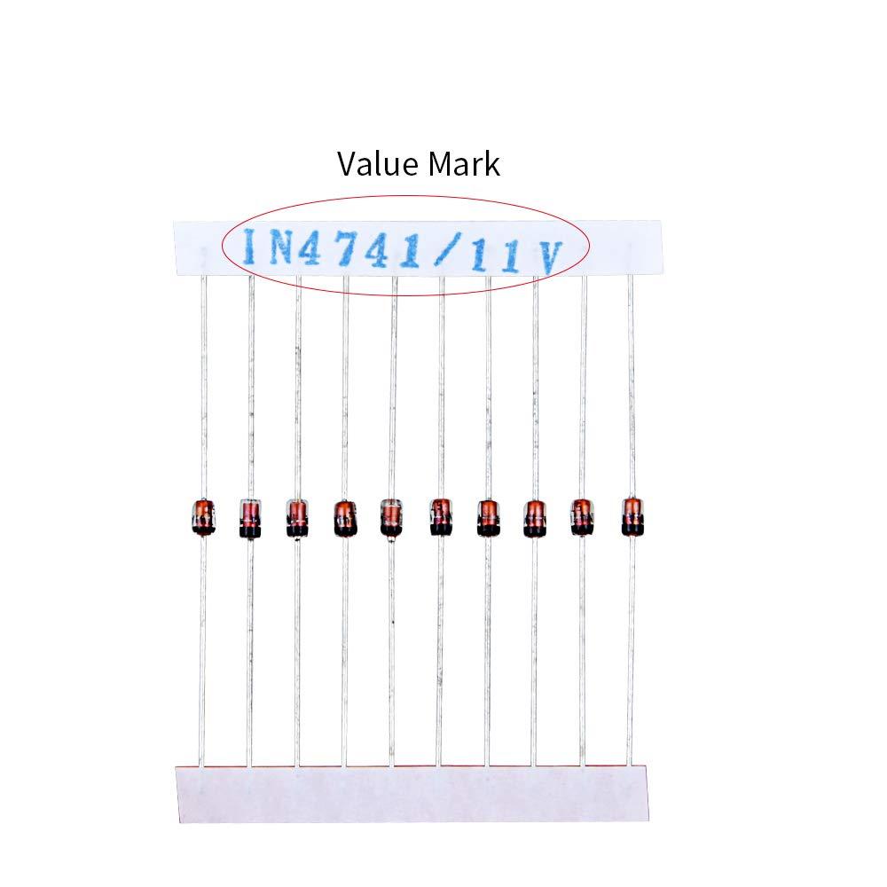 Assortment Set TeOhk 280pcs Zener Diode Assorted Kit 28 Values x 10pcs 3.3V 3.6V 3.9V 4.3V 4.7V 5.1V 5.6V 6.2V 6.8V 7.5V 8.2V 9.1V 10V 11V 12V 13V 15V 16V 18V 20V 24V 27V 30V 33V 36V 39V 43V 47V