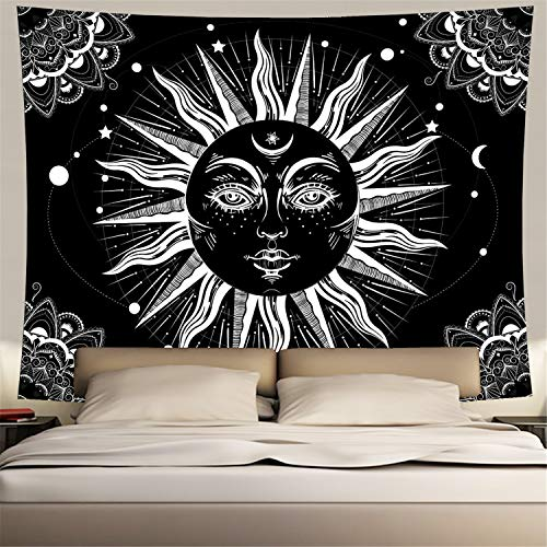 Psychedelic Sun Tapestry Bohemian Burning Sun with Moon Star Celestial Wall Hanging Tapestry Black and White Indian Hippie Wall Tapestry for Living Room Bedroom Dorm Room (Medium, Psychedelic Sun)