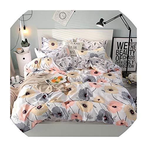 Jifnhtrs Summer Bedding Set Girls Bed linens 3 or 4pcs Flower Heart Bed Set Modern Grid Duvet Cover + Flat Sheet Mans Bed Cover Set,Elegant -