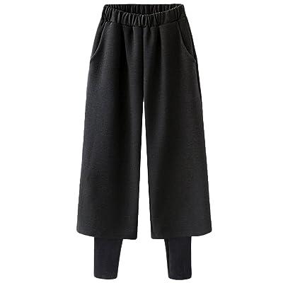 d41677609dad Dooxi Femme Élégantes Décontractée Jambe Large Pantalons Hiver