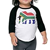 QPKMRTZTX0 Boys Girls Kids & Toddler Elephant South Africa Flag-1 Long Sleeve Tees 100% Cotton