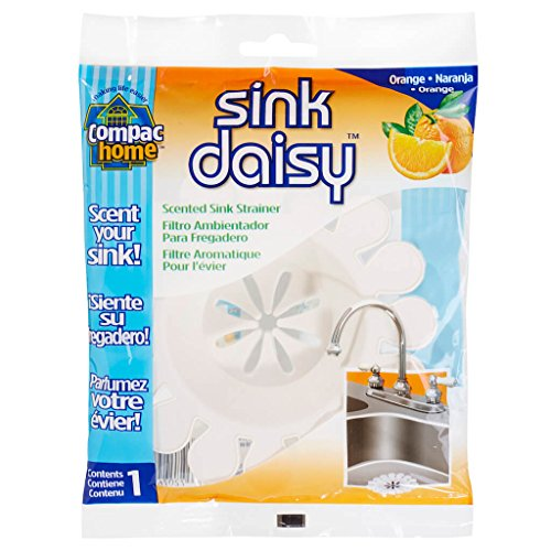 (Compac's Sink Daisy, Scented Kitchen Sink Strainer - Infuses and Freshens Your Sink With Crisp, Clean, Exciting Scents, While Protecting Garbage Disposals & Drains, Mandarin, 12 Count)