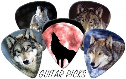 Wolves (Wolf) Full Colour Premium Guitar Picks x 5 Medium 0.71 Printed Guitar Picks