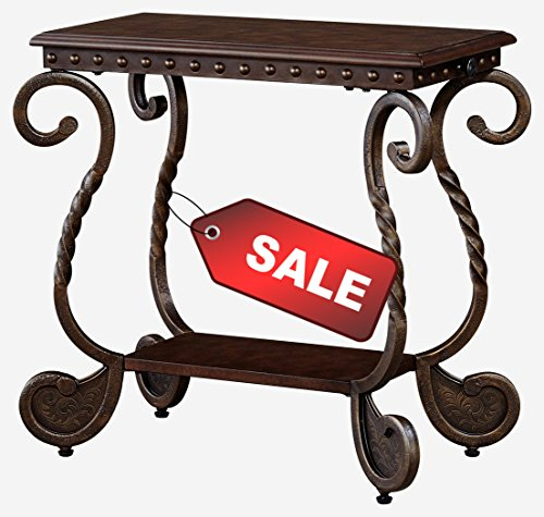 Narrow Side Table Curved Vintage Legs Metal Rectangular in Dark Brown Finish Wood and Lower Shelf for Storage and Display Side End Table Home & Office Furniture & eBook by Easy&FunDeals