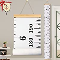 Baby Height Growth Chart Ruler KINBON Kids Roll-up Canvas Height Chart Removable Wall Hanging Measurement Chart Wall Decor with Wood Frame for Kids Nursery Room (79