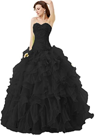 Onlybridal Womens Vestidos DE 15 Anos Strapless Pleated Prom Gown Beaded Ruffle Organza Quinceanera Dresses