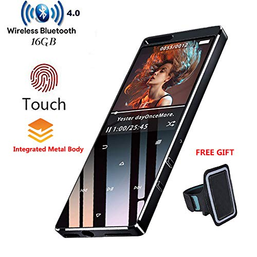 DeeFec 16GB Bluetooth4.1 MP3 Music Player Touch Button 1.8inch HD Screen with FM Radio, Recorder, Support SD Card up to 64GB + Free Sport Armband- Black
