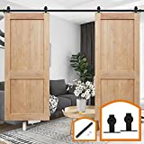 HomeDeco Hardware 14 FT Black Style Carbon Steel Sliding Barn Door Rolling Hardware Soft Close Set Track Rail Kit for Wood and Concrete Wall