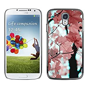 For SAMSUNG Galaxy S4 IV / i9500 / i9515 / i9505G / SGH-i337 Case , Pink Leaves Maple Tree Branch - Diseño Patrón Teléfono Caso Cubierta Case Bumper Duro Protección Case Cover Funda