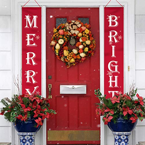 Sophisticated Halloween Decorations (WizPower Merry Bright Christmas Banner, Merry Bright Porch Sign for Christmas Decoration Outdoor Indoor, Christmas Banner Red Xmas Decor Banners for Home)