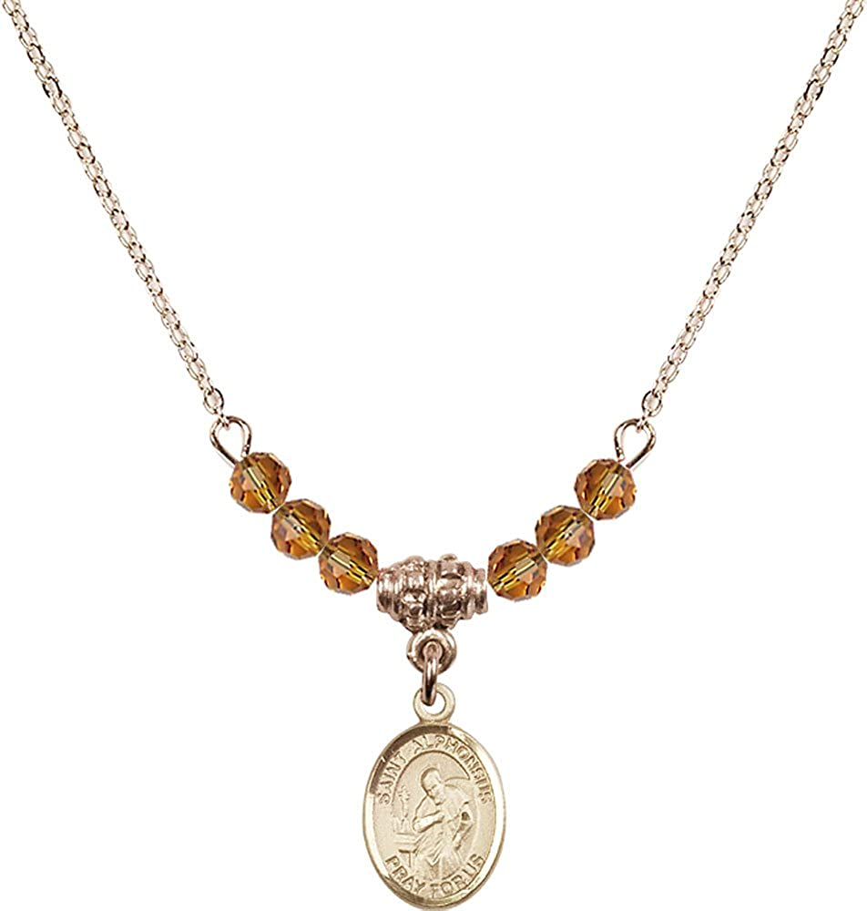 18-Inch Hamilton Gold Plated Necklace with 4mm Topaz Birthstone Beads and Gold Filled Saint Alphonsus Charm.