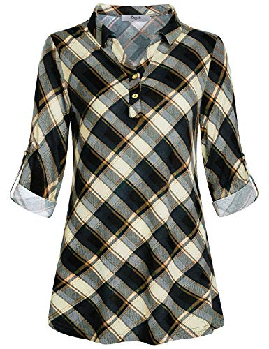 Cestyle Long Sleeve Tunic Tops for Women,Ladies Long Sleeve Polo Tees Misses Casual Basic 3/4 Roll Up Loose Fitting Shirts V Neck Plaid Blouses with Collars Beige XXL -
