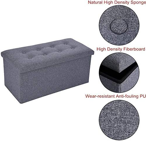 DOYCE Foldable Tufted Linen Large Storage Ottoman Bench Foot Rest Stool/Seat