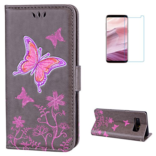 Samsung Galaxy Note 8 Case [Free Screen Protector] KaseHom [Wallet Leather Case] Shiny Butterfly FLowers Pattern Folio Magnetic with [ID Slots/Kickstand] Slim Flip Protective Skin Cover - ()