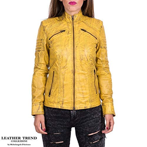 3a9fc508af8384 Giacca Donna in vera pelle Made in Italy - Giallo Tamponato - mod. C66 -  Leather Trend: Amazon.it: Handmade