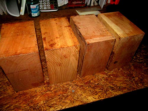 """A2ZSale 4 Beautiful Black Cherry Kiln Dried Bowl Blanks Turning Block Wood Shop Small Projects Ready to Finish Turn Approximately 6"""" X 6"""" X 3"""""""