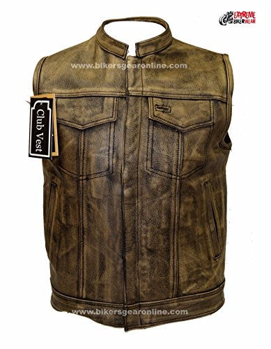 Dream Apparel Men's Motorcycle Distressed Brown Son of Anarchy Style Leather Vest Gun Pockets (48 Regular) ()