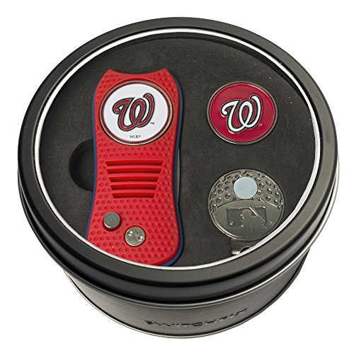 Team Golf MLB Washington Nationals Gift Set Switchblade Divot Tool, Cap Clip, & 2 Double-Sided Enamel Ball Markers, Patented Design, Less Damage to Greens, Switchblade Mechanism (Washington Nationals Green Hat)