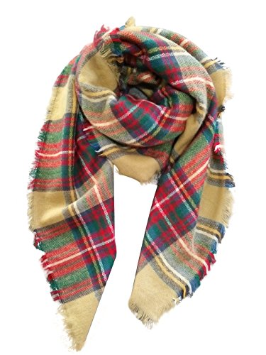 - MOTINE Tartan Blanket Scarf Stylish Winter Warm Pashmina Wrap Shawl for Women (Khaki)