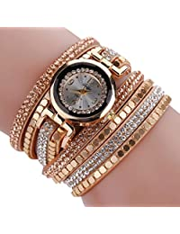XILALU Women Ladies Chic Leather Blocks Decorated Bling Diamond Bracelet Fashion Watch