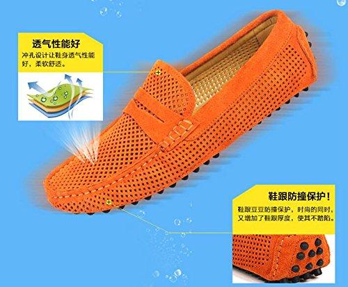 Happyshop Cuero De Gamuza Para Hombre Desenganche Slip-on Holgazanes Ahuecados Ventilar Zapatos De Conducción Mocasines Naranja