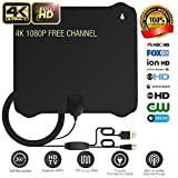 TV Antenna,Indoor Digital HD Antenna 65 Miles with Detacable Amplifier 10+3 FT High Performance Cable for 1080P 4K High Reception