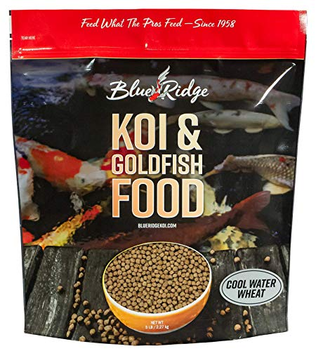 Blue Ridge Fish Food Pellets [5lb] Koi and Goldfish Cool Water Wheat Formula, Floating Large Pellet, Balanced Diet