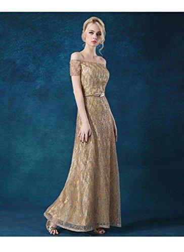 Pailletten Ausschnitt Kurzschluss Kleid Schulter der aus lange Maxi Abend Gold Emily Beauty Boot Hülsen FHnqwttp