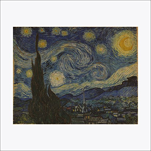 (Dragon Honor Starry Night Kraft Paper Dutch Impressionism Removable Mural Wall Sticker Decor For Home Living Room Decoration)