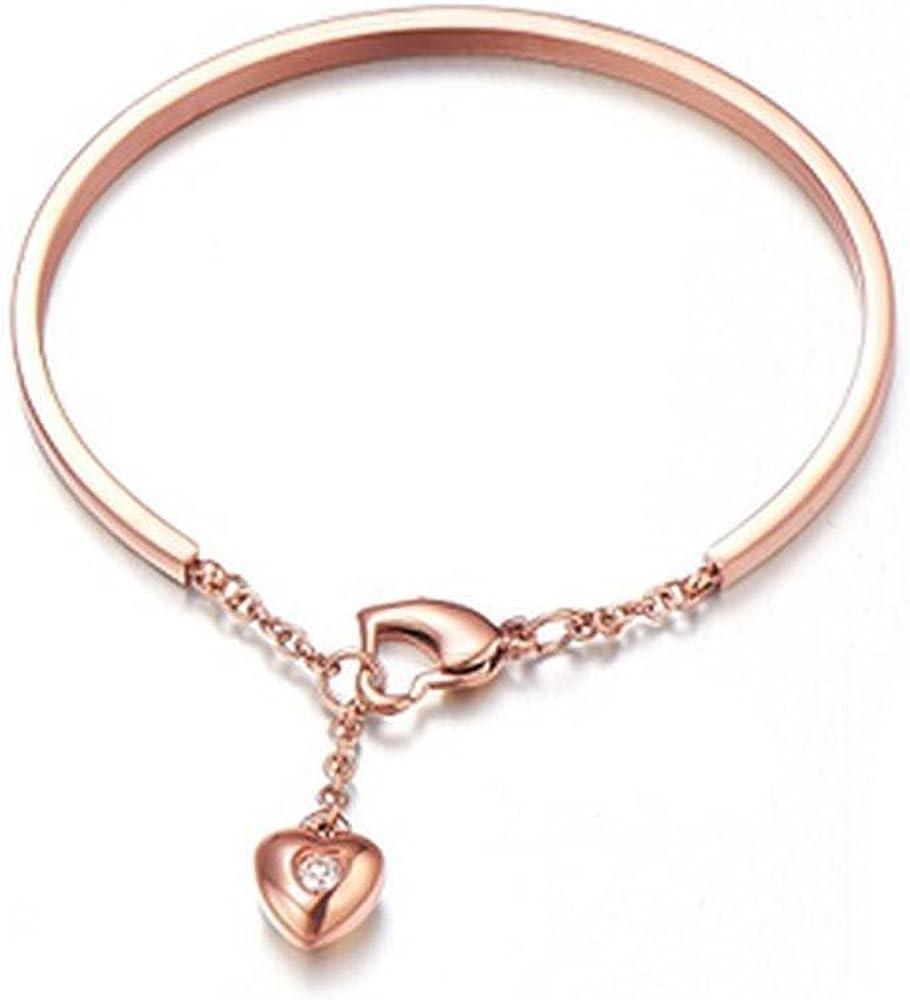 findout 14K chapado en oro rosa de acero de titanio colgantes pulseras de diamantes corazón, para mujeres niñas, (f1085)