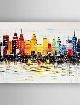 Pintura Al óleo Abstracta Cuchillo De Los Edificios Pintura Pintada