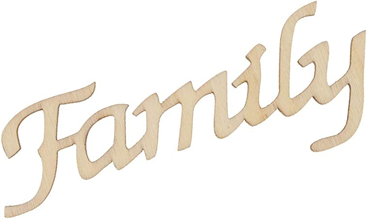 Homyl D/écoupe en Bois Alphabet Mots Love//Family//Hello//Gather Inachev/é Bricolage D/écoration /à Suspendre ou Coller Fen/être Porte Mur Family