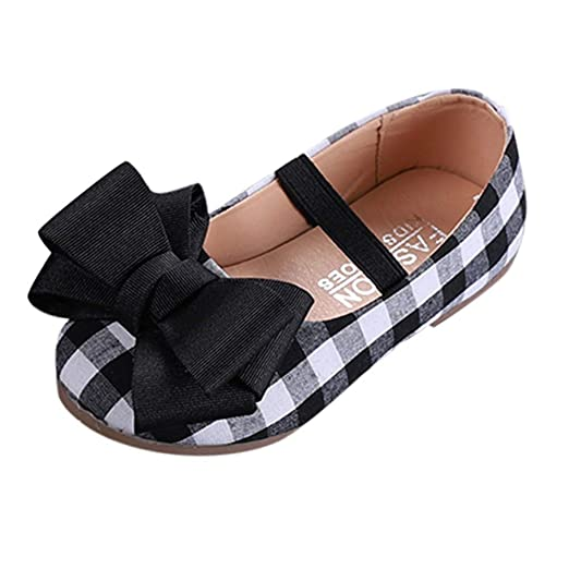 af9805a5c53c19 Baby Shoes Girl Children Kids Plaid Print Princess Bowknot Single Student Casual  Shoes Soft Sole Walking