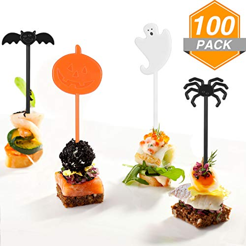 Jetec 100 Pieces Halloween Cupcake Toppers Halloween Food Picks Cake Decoration Pumpkin Ghost Spider Cupcake Topper for Halloween Party Supplies Halloween Party Decorations