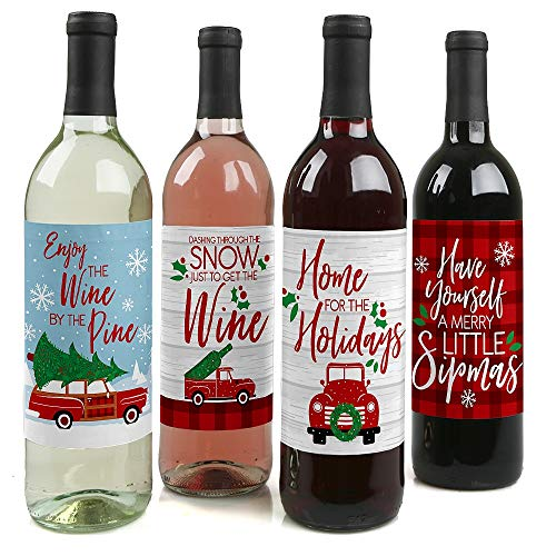 Merry Little Christmas Tree - Red Truck and Car Christmas Party Decorations for Women and Men - Wine Bottle Label Stickers - Set of 4