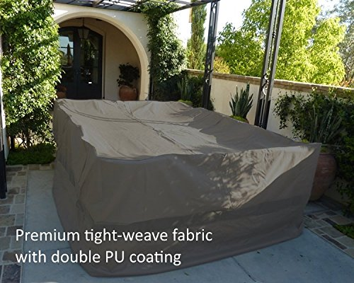 Premium Tight Weave Fabric Patio Set Covers 120''L x 86''W fits rectangular and oval shape table set, Center hole for Umbrella in Grey by Formosa Covers