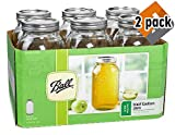 Ball 68100BALL Wide Mouth Half Gallon 64 Oz Jars with Lids and Bands, Set of 6 (2 Pack), WM), Clear