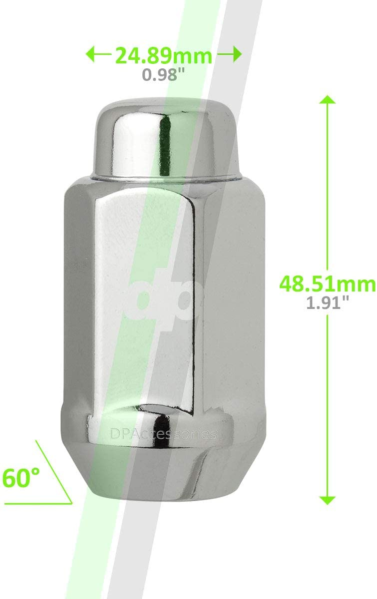 7//8 Hex Wheel Lug Nut DPAccessories D3612-2305//20 20 Chrome 1//2-20 Closed End XL Bulge Acorn Lug Nuts Cone Seat