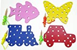 GoAppuGo Set of 4 Multicolor Wooden Lacing Sewing Toys - Wooden Educational toys for kids 3 years or 2 or 4 years old, Learning toys for toddlers fine motor skills
