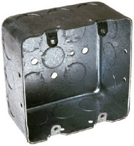 Hubbell-Raco 683 Two-Device Switch 4-Inch Square Box 2-1//8-Inch Deep Gray Finish 1//2-Inch and 3//4-Inch Side Knockouts Drawn