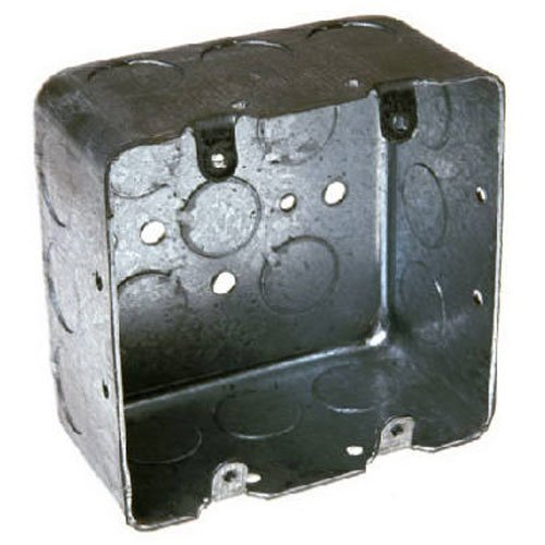 Hubbell-Raco 683 2 Device, 2-1/8-Inch Deep, 1/2-Inch and 3/4-Inch Side Knockouts 4-Inch Square Switch Box, Drawn ()