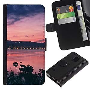 All Phone Most Case / Oferta Especial Cáscara Funda de cuero Monedero Cubierta de proteccion Caso / Wallet Case for Samsung Galaxy S5 V SM-G900 // Sunset Bay Nature Sea Ocean Purple
