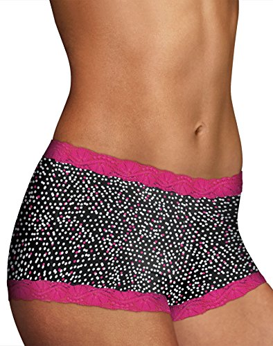 Maidenform Women's Microfiber with Lace Boyshort PantyStrawberry Dot Print/Wild (Microfiber Print Shorts)