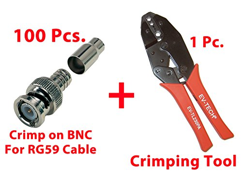 Bnc Crimping Tool Rg59 (Evertech 100 Pcs. Professional RG59 / BNC Male Crimp-On Connector with Crimping Tool)