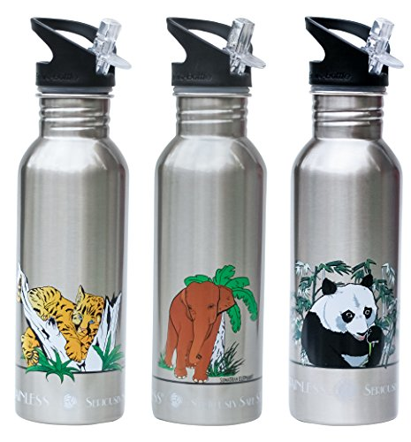 New Wave Enviro 600Ml Stainless Steel Endangered Species Water Bottle, Assorted 3 Pack Medium, (New Wave Tiger)